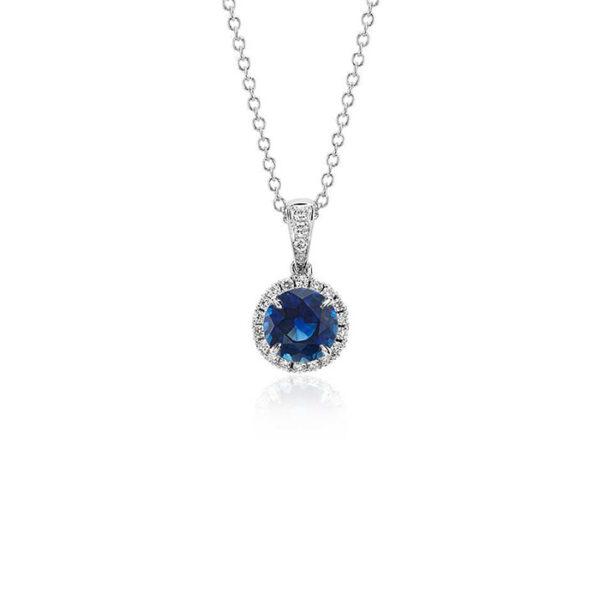 Κολιέ με μπλε ζαφείρι και διαμάντια - Κόσμημα και ρολόγια Ketsetzoglou