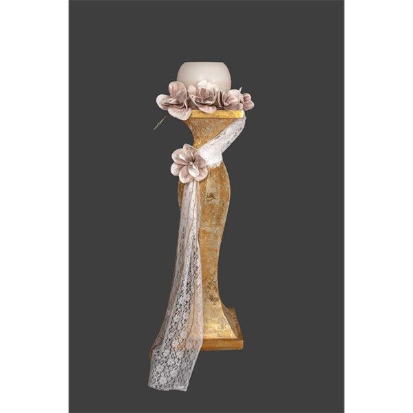 κηροστάτης γάμου με ανάγλυφα λουλούδια