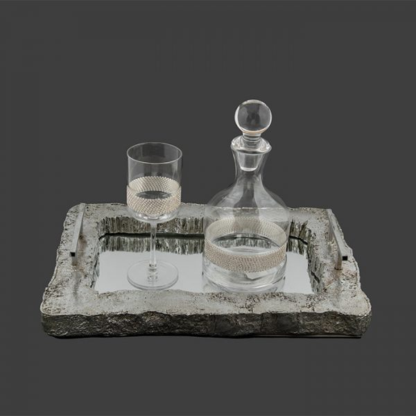 Vintage σετ δίσκος καράφα ποτήρι κρασιού & σαμπάνιας - Ketsetzoglou.gr