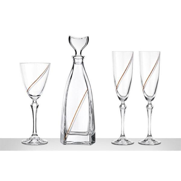 Μοντέρνο σετ δίσκος καράφα ποτήρι γάμου - eshop online Ketsetzoglou.gr