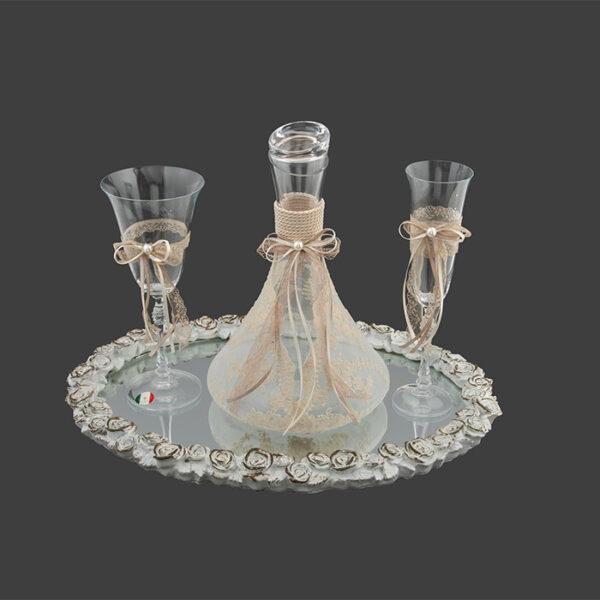 vintage σετ καράφα ποτήρι δίσκος γάμου
