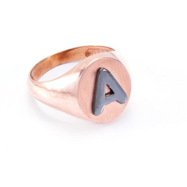 Σεβαλιέ δαχτυλίδι ροζ χρυσό με μαύρο