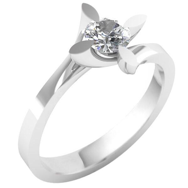 Μονόπετρο λευκόχρυσο με διαμάντι