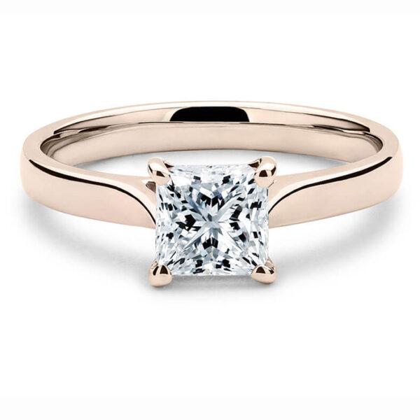 Μοντέρνο μονόπετρο δαχτυλίδι σε ροζ χρυσό - Kosmima Ketsetzoglou