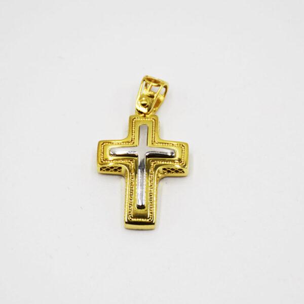 Δίχρωμος σταυρός βάπτισης για αγόρι