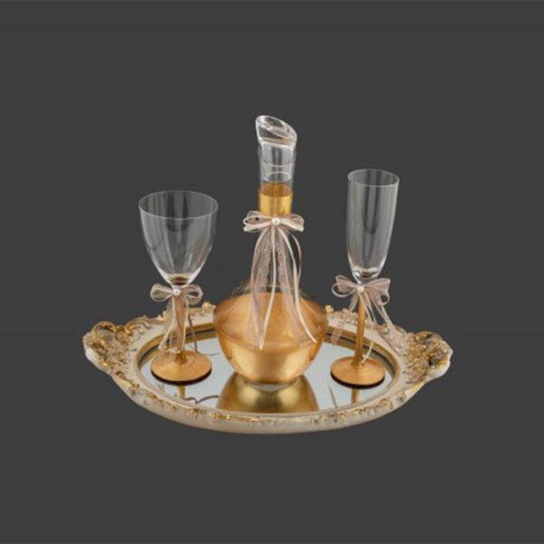 Μοντέρνα σετ γάμου δίσκος καράφα ποτήρι - online eshop ketsetzoglou.gr